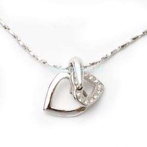 Silver Duo heart necklace, (jn55)